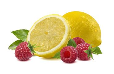 Lemon raspberry isolated on white - horizontal composition