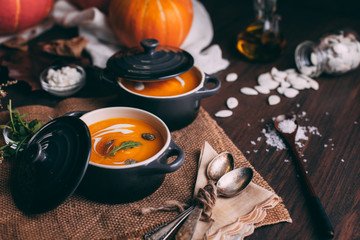 Homemade Pumpkin Soup for Halloween