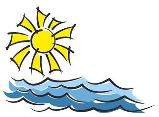 Sun with sea.