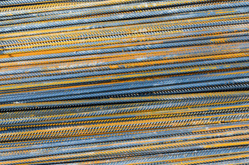 Steel bars close-up background. Reinforcing bar background.
