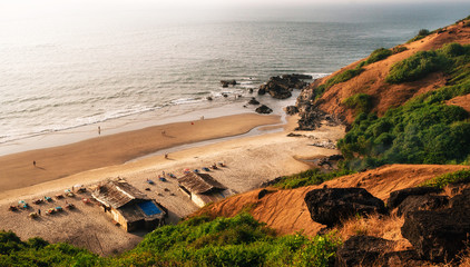 View from above of hidden wonderful place of Chapora beach close to Vagator. Arabian Sea, North Goa, India