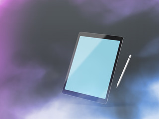 Black tablet mockup on a colour background with stylus