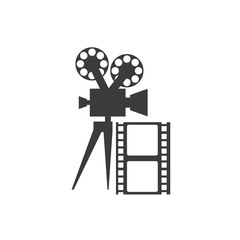 cinematographic camera with cinema icon vector illustration design