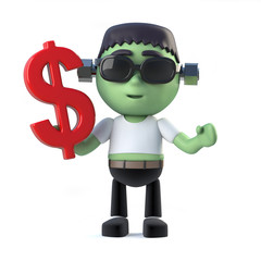 3d Child frankenstein monster holds US Dollar currency symbol
