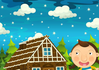 Cartoon scene with girl near traditional house by night - illustration for children