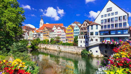 Fototapete - Beautiful towns of Germany - Tubingen, colourful floral town