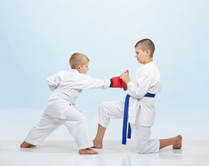 Boy karateka beats punch on fitness machine that brother keeps