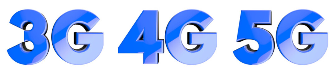 Blue glossy icon set witg mobile network speed symbols: 3G, 4G, 5G. 3D render with deph of field