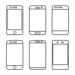 Smartphone icon vector set isolated on white