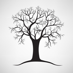 Black silhouette of a bare tree . Vector illustration