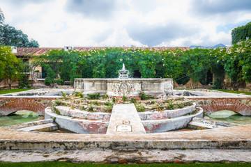 Water Fountain in ancient convent ruins - Antigua, Guatemala