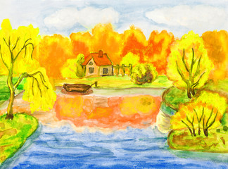 Autumn landscape with house, painting