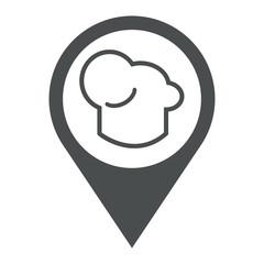Icono plano localizacion gorro cocinero gris