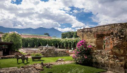 Renovated yard in ancient convent ruins - Antigua, Guatemala