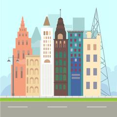 Flat design modern vector illustration icons set of urban landscape and city life. Building icon. city landscape