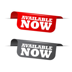 available now, red banner available now, vector element available now