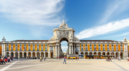 LISBON,PORTUGAL - OCTOBER 12,2012 : Famous arch at the Praca do Wall mural