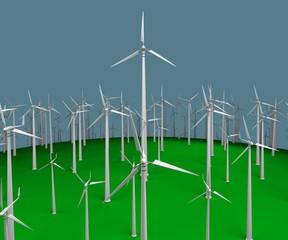 plurality wind turbines. 3d rendering