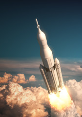 Fotobehang - Space Launch System Takes Off Over The Clouds