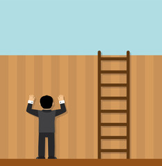 man standing face to the wall and does not see that standing next to the ladder, and you can solve the problem