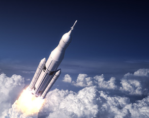 Fotobehang - Space Launch System Takes Off In The Blue Sky