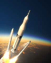 Fototapete - Space Launch System Solid Rocket Boosters Separation In Stratosphere