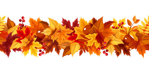 Vector horizontal seamless garland with red, orange, brown and yellow autumn leaves on a white background.