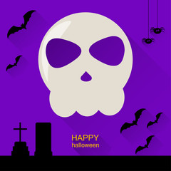Halloween card template background with skull, graveyard and bat
