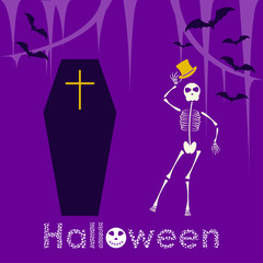 Halloween card template with dancing skeleton and coffin