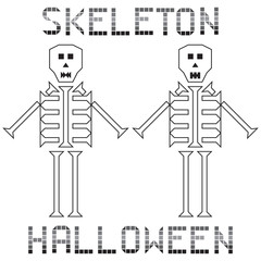 skeleton halloween set text