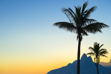 Sunset in Rio de Janeiro Ipanema Beach Brazil with Two Brothers Dois Irmaos Mountain and palm trees silhouettes