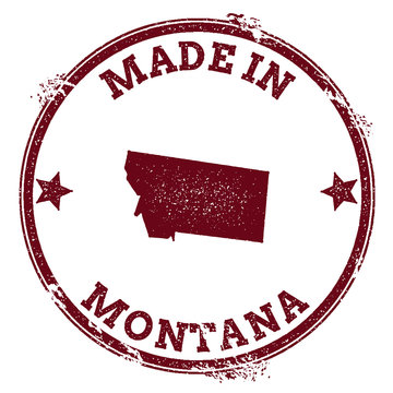 Montana vector seal. Vintage USA state map stamp. Grunge rubber stamp with Made in Montana text and USA state map, vector illustration.