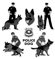 Set of icons with the image of a police dog Shepherd and cops