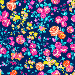 Neon bright rose garden - seamless vector pattern