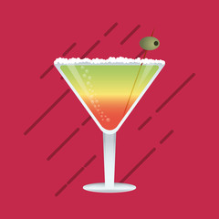 flat design cocktail drink glass over brightly colored  background image vector illustration