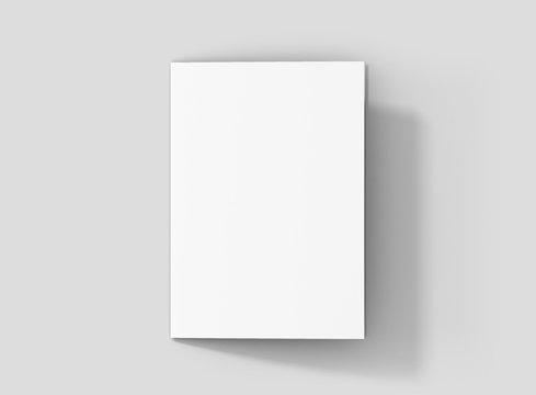 Photorealistic A5 Bifold Brochure Mockup, closed frontside, on light grey background. 3D illustration. High Resolution Texture. Mockup template ready for your design.