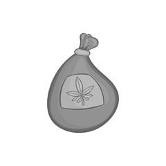 Bag with marijuana icon in black monochrome style isolated on white background. Drug symbol vector illustration