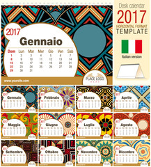 Desk triangle calendar 2017 template with native rosettes design. Size: 210mm x 150mm. Format horizontal. Vector image. Italian version