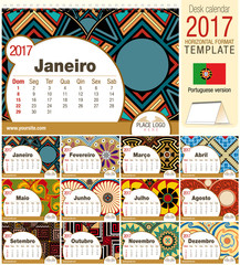 Desk triangle calendar 2017 template with native rosettes design. Size: 210mm x 150mm. Format horizontal. Vector image. Portuguese version