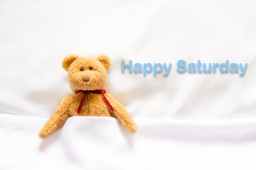 "Teddy Bear lying in the white bed with message "" Happy Saturday"""