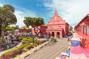 MALACCA, MALAYSIA - AUGUST 12,2016: Christ Church & Dutch Square on August 12, 2016 in Malacca, Malaysia. It was built in 1753 by Dutch & is the oldest 18th century Protestant church in Malaysia.