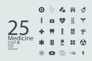 Set of flat design concept icons for medicine