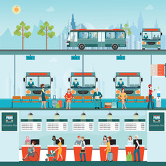 Set of bus limousine with people buying ticket at counter servic