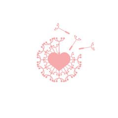 Love Dandelion Logo Image Vector Icon