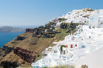 Santorini island, Greece. Beautiful landscape with sea view