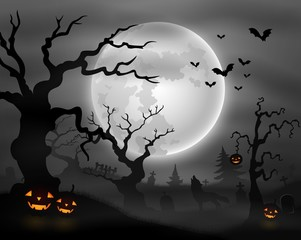 Halloween night background with wolf howling, pumpkins and full moon