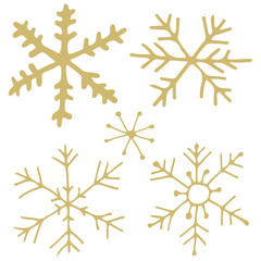 Golden hand drawn snowflakes - vector clip art