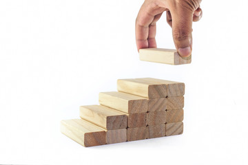 Leadership, Business concept growth success process. The hand establishes a group & stacking as step stair in row.