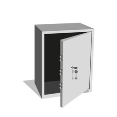 Metal open safe.Realistic vector image isolated on a white background