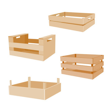 Wooden box for vegetables keeping and fruits set